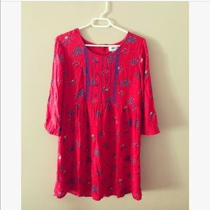 Old Navy Red Floral Embroidered Stitched Sun Dress